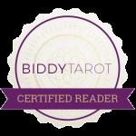 Certified Biddy Tarot Reader badge